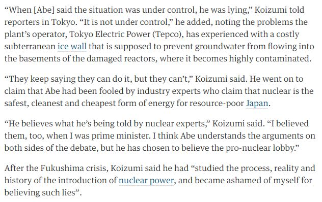 former-japan-pm-junichiro-koizumi-accuses-abe-lying-over-fukushima-pledge