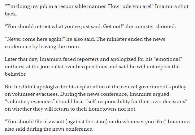 fukushima-disaster-reconstruction-minister-apologizes-outburst-journalist