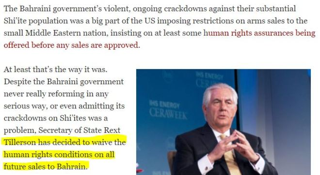 tillerson-to-waive-human-rights-conditions-on-bahrain-arms-sales