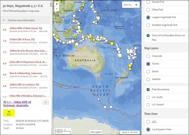 9/16/18 0056 EDT Earthquake Australia *5 3 mww* 6 21 Mi