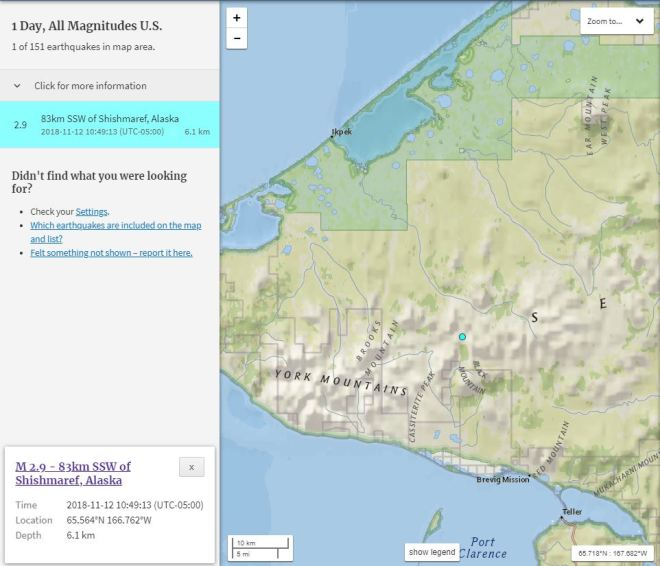 11/12/18 1049 EST Earthquake Alaska Shishmaref 2.9 ml 3.79 ...